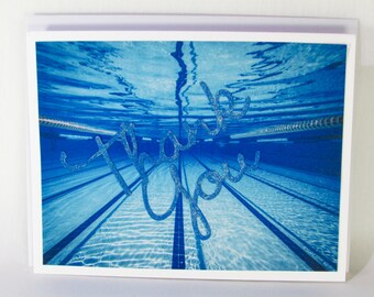 Swim Coach Gift Card Thank You Card, Swim Team Thank You Card, Pool Party Invitation, Thank You Swim Teacher Card, Personalized Card