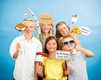 Camping Outdoors Photo Booth Kit/ Camping Party Photo Booth Kit/ Outdoors Fun Photo Booth Props Kit
