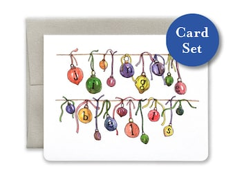 Jingle Bells Holiday Ornaments Card Set of 8