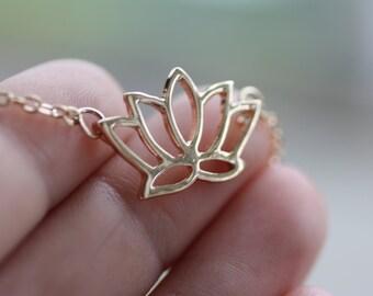 Gold Lotus Necklace Bridesmaid Gift Wedding Gift Lotus Jewelry Lotus Charm Necklace Birthday Gift Lotus Necklace HoneyBeeCharmed