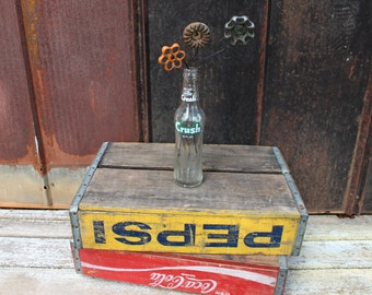 Vintage Soda Bottle Vase with Spigot Handle Flowers, Crush,repurposed soda bottle, vintage vase, industrial flowers, rustic home decor