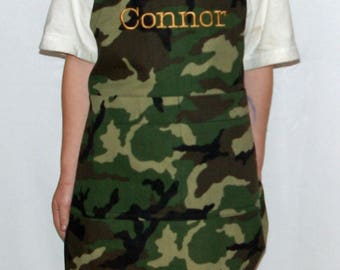 Camouflage Little Boys Apron, Camo Apron,  Custom Gift, Personalized With Name, No Shipping Fee, Ships TODAY, AGFT 1114