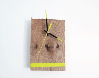 Pallet Wood Clock with Lime Green