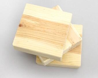 "Set of 3 Pine Wood Blank Blocks 4"" x 4"" String Art Blocks"