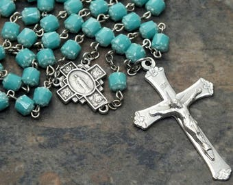 Czech Glass Cathedral Bead Rosary in Turquoise Accented with White, 5 Decade Rosary, Catholic Rosary, Miraculous Medal Rosary, Marian Rosary