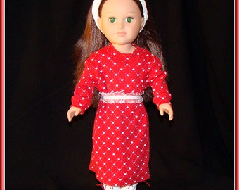 """American Girl Style 18"""" Doll Maxi Dress with Red Fur-Topped White Boots! Great for Holidays, Prom, School or Dress Up Clothes"""