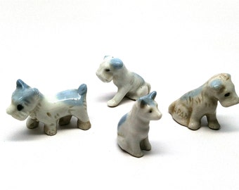 Vintage Dog Figurines, Cat, Set of 4, Blue and White, Miniature, Dollhouse, Japan, 1950
