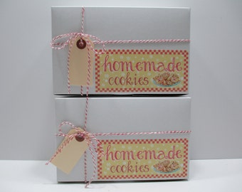 """Cookie Box, 6 Homemade Cookie Boxes, Cookie Exchange Box Vintage Themed - White Bakery Boxes - 8"""" x 5"""" x 3"""" includes Twine and Tag"""