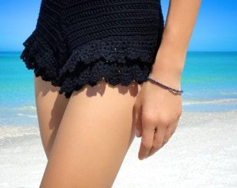 Swarovski Black Diamond Bracelet Friendship Bracelet Beaded Bracelet Gold Charm Bracelet Gypsy Bohemian Jewelry Bracelet Gift for Her