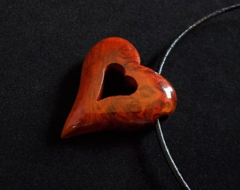 Wood Heart Pendant, Amboyna Burl with Leather Cord
