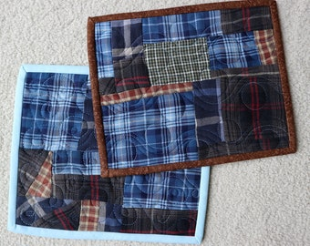 Blue Brown Plaid Mug Rug, Snack Mat, quilted rougly 8x10""