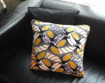 Yellow and Blue African Print Decorative Pillow
