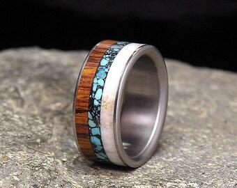 Desert Ironwood Turquoise Antler Titanium Wedding Band or Ring
