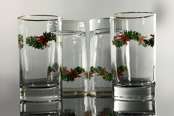 Libbey, Christmas Tumbler, Holly Boughs, Gold Rim, Set of 4