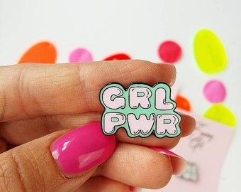 Pastel Girlpower Pin - Lapel Pin - Hard Enamel Pin - Cloisonne - Girl Gift - Female Empowerment - GRLPWR Pin - Girlfriend Gift