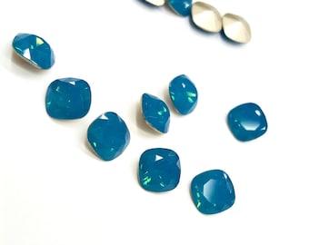2 Pieces Swarovski Article #4470 Caribbean Blue Opal, Antique Square Stones, Vintage, 10mm