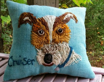 Your Dog Free Hand Embroidered on LARGE Pillow Made to Order