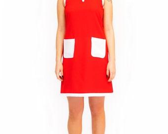 Peter pan red white collar dress mod annie 60s