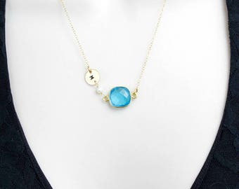 Blue Topaz Necklace, Gold Initial Necklace, Personalized Minimalist Necklace, Minimal Dainty Necklace, December Birthstone, Womens Gift,