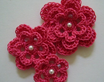 Crocheted Flowers - Hot Pink With a Pearl - Cotton Flowers - Crocheted Flower Appliques - Crocheted Flower Embellishments