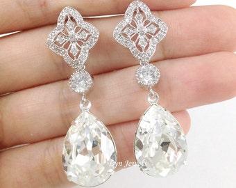 Long Bridal Earrings, Wedding Swarovski Crystal Teardrop Dangle Earrings, Bridesmaids Clear Crystal Earrings