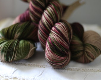 Rescue Yarn!  Hand Dyed Sock Yarn, Limited Edition, Only THREE, Take Me to Tuscany, Green, Purple, Beige, Indie Dyer, super wash merino,