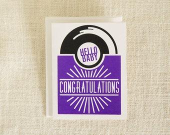 Hello Baby Card, Congratulations Card, New Baby Card, Baby Girl Card, Retro Style Card, Record Card