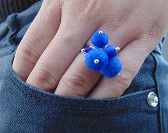 Felt balls Ring, Dark Blue Wool Ring, Modern Design Ring, Wool Jewelry