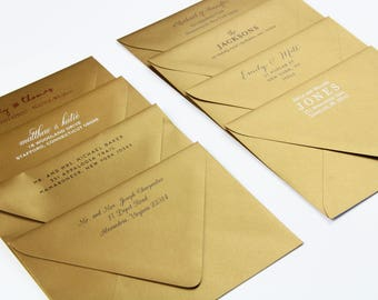 25 -  Printed A7 Gold Euro Flap Envelopes with Return Address  - Return Address on A7 Gold Envelopes - Antique Gold