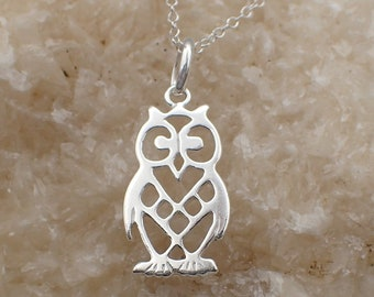 Owl Necklace Sterling Silver Filigree Bird Charm Pendant Cable Chain