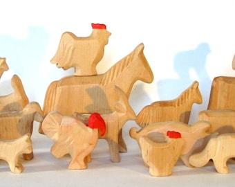 Animals of the farm, wooden animals, Waldorf toys