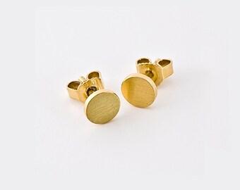 Flat Solid Gold Stud Earrings, Disk Earrings, Small Gold Stud Simple Stud 18k Gold 14k Minimal Earrings, 22k Gold Nugget