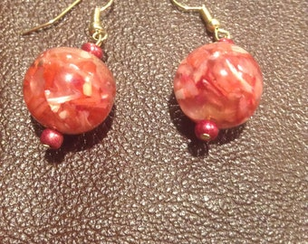 Orange Marble Earrings