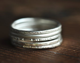hammered skinny Stacking Rings - sterling silver - set of 5 - textured rings - thin bands