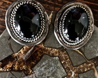 Native American Sterling Silver Onyx earrings