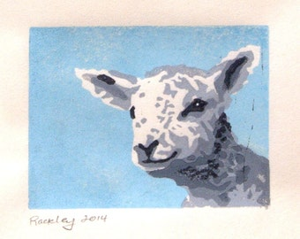 Lamb Print, 3x4 original linocut print, Nursery decor, Spring time