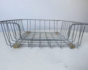 Vintage Industrial Silver Metal Wire Office Desk / Paper Tray / Basket with Rubber Feet / Pad Protectors