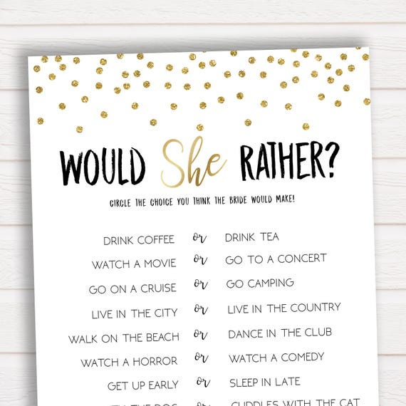 Mesmerizing image intended for would she rather bridal shower game free printable