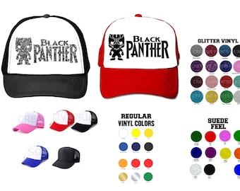 Black Panther Marvel inspired, Suede feel, Glitter or REG textured design  toddler/kids Hat,