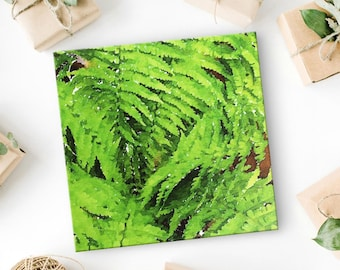 "Fern Print - Canvas Art - Fern Art - Living Room Wall Art - Spring Wall Decor - Gift for Women - Gift for Her - Summer Wall Art - 8""x8"""