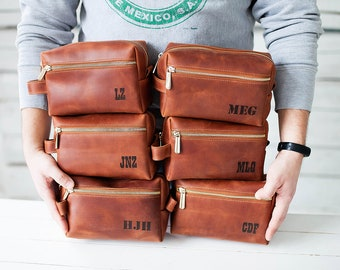 Leather Travel Bag Leather Dopp Kit Groomsmen Gift Leather Toiletry Bag Shave Kit Personalized Gift Wedding Gift Groomsman Gift Mens Gift