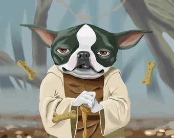 Yoda Terrier - Boston terrier Dog Art Print