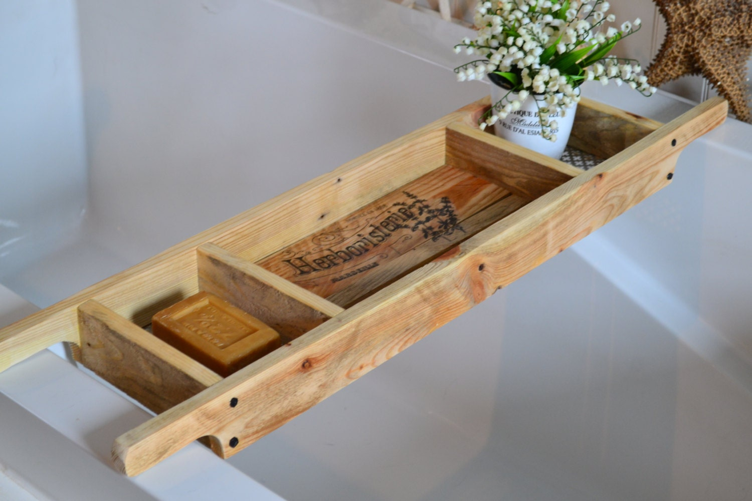 Bath Tray , Recycled Pallet Wood , Rustic Style Bath Rack , Vintage Graphic , Natural Wood Bath Caddy , Custom Made to Order