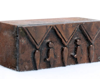 TASSLES 1903-1953 Antique GERMAN Copper Letterpress Cut printing block Triangle