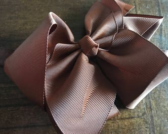 "6"" Brown Baby Headband Bow, Baby Hair Bow on Elastic Band, Boutique Bow, Toddler Bow, Bow Headband, Kids Headband, Baby Bow,  Brown Bow"