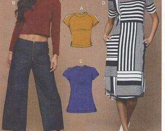 Melissa Watson Womens Knit Crop Tops, Tunics and Dress McCalls Sewing Pattern M7574 Size 6 8 10 12 14 Bust 30 1/2 to 36 FF Stretch Knits
