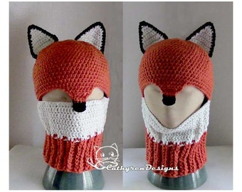 Fox Ski Mask, Ski Hat, 5 Sizes Child-Adult, INSTANT DOWNLOAD Crochet Pattern