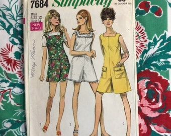 Vintage 1968 Simplicity Sewing Pattern 7484 Romper Shorts Jumpsuit Size 12, Bust 34