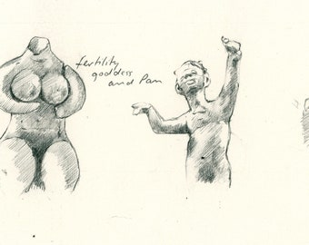 "Original Drawing 'Mother and Pan' for 'Sabine's Notebook' approx 5"" X 3"""