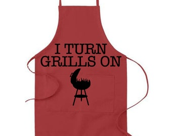 Father's Day Apron | I Turn Grills On | Custom Apron | Personalized Apron